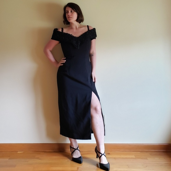 Vintage Dresses & Skirts - 80's Off Shoulder/High Slit Cocktail Dress - 8/10